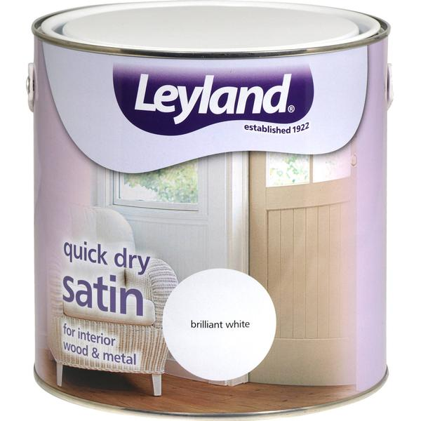 Leyland Trade Quick Dry Satin Wood Paint, Metal Paint White 2.5L