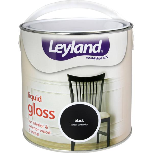 Leyland Trade Liquid Gloss Wood Paint, Metal Paint Black 2.5L
