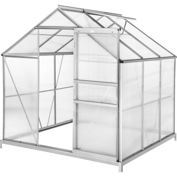 tectake 3.7m² with Base Aluminum Polycarbonate